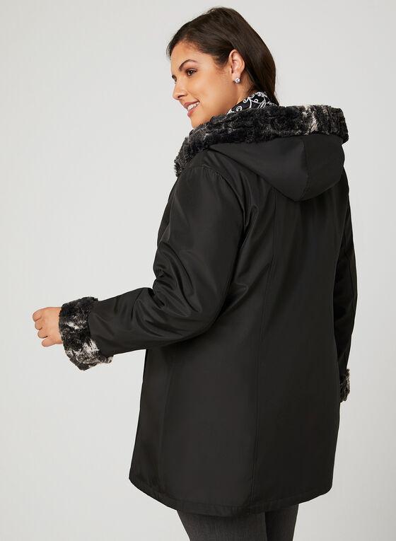 Manteau de pluie réversible à capuchon, Noir, hi-res