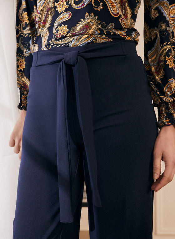 Tie Detail Gaucho Pants, Blue