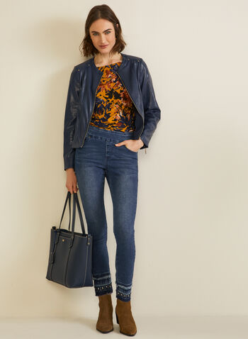 Floral Print Ruched Sleeve Top, Blue,  top, floral print, ruched, 3/4 sleeves, boat neck, fall winter 2020