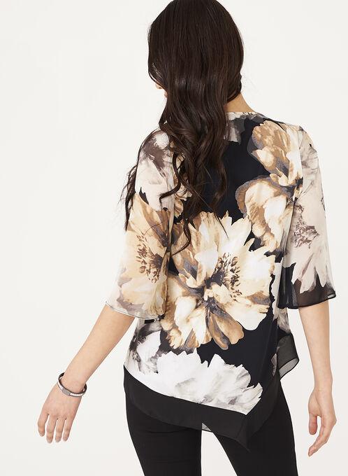Floral Print Bell Sleeve Blouse , Black, hi-res