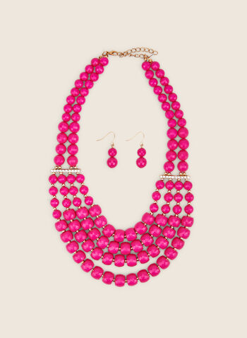 Necklace & Earring Set , Pink,  necklaze, multi-row, beads, earrings, spring summer 2020