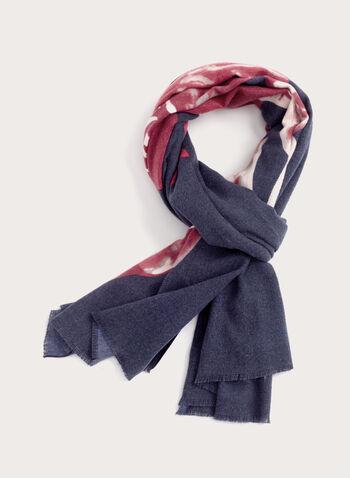 Foulard fleuri en tissu brossé et franges, Bleu, hi-res
