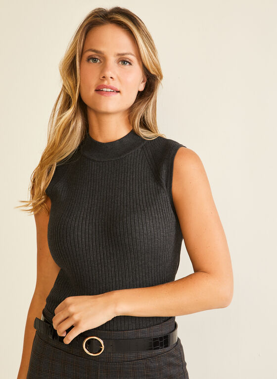 Sleeveless Mock Neck Sweater, Grey