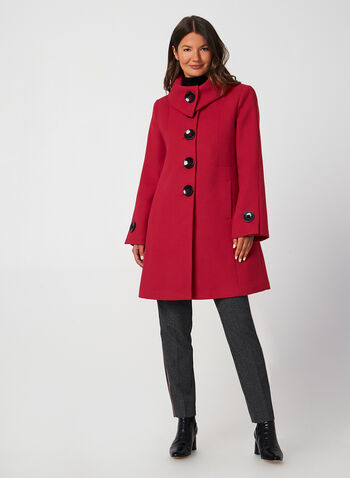 A-Line Wool-Like Coat, Red,  fall winter 2019, wool, A-line, buttons