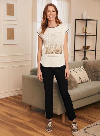 T-shirt à appliqué animalier, Blanc,  t-shirt, coton, manches courtes, animalier, printemps été 2020