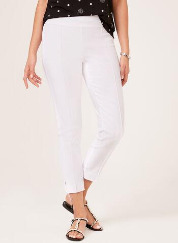 Slim Leg Pull-On Ankle Pants, White, hi-res