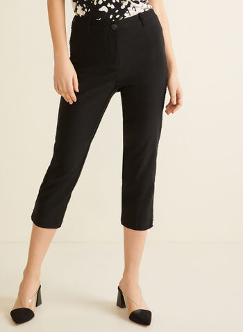 Scallop Trim Capri Pants, Black,  pants, capri, scallop, stretchy, spring summer 2020