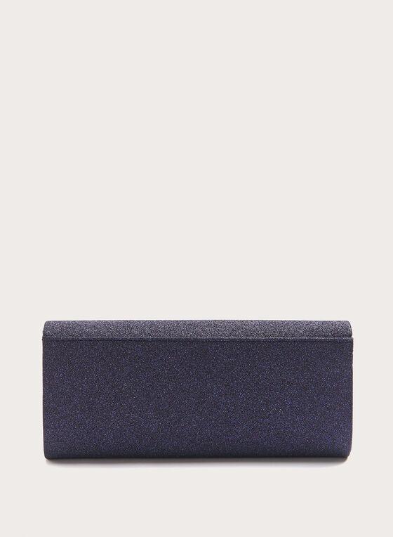Pochette brillante avec détail broche , Bleu, hi-res