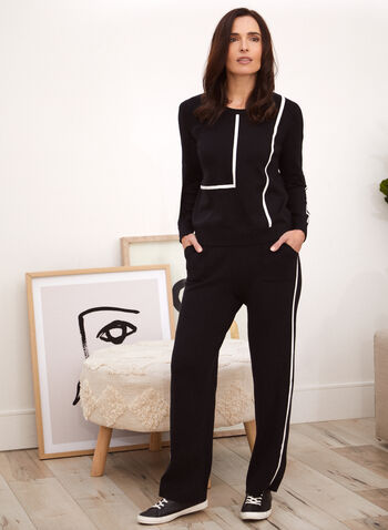 Contrast Trim Sweater, Black,  top, sweater, knit, scoop neck, long sleeves, contrast trim, fall winter 2021