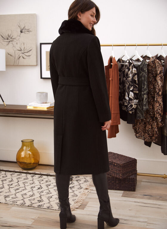 Stretch Wool Blend Trench Coat, Black