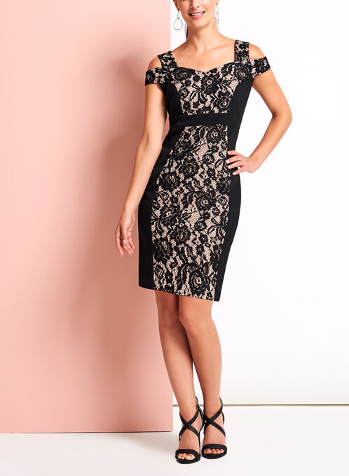 Off the Shoulder Floral Lace Contrast Dress, Black, hi-res