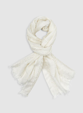 Metallic Scarf , Off White, hi-res