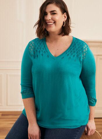 Pull à détails en tricot pointelle, Bleu,  pull, manches 3/4, col v, tricot pointelle, printemps été 2020