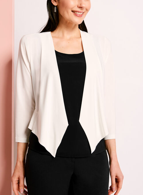 Ruffle Trim Bolero, Off White, hi-res