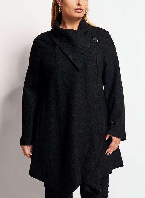 Manteau en laine drapé en cascade, Noir, hi-res