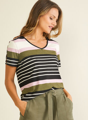 Stripe Print Slit Sleeve Tee, Green,  t-shirt, short sleeves, striped, jersey, spring summer 2020
