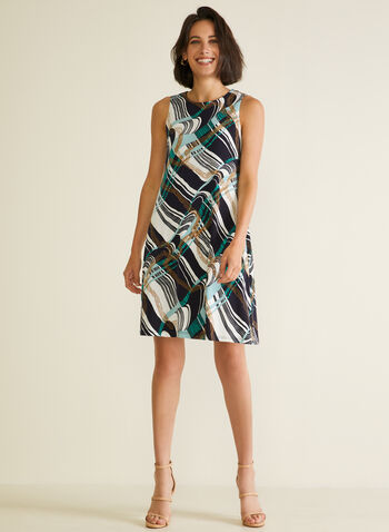 Abstract Print Sleeveless Dress, Blue,  day dress, sleeveless, abstract, trapeze, spring summer 2020