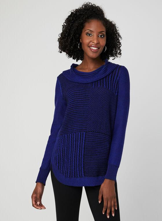Pull en tricot à col châle, Bleu, hi-res