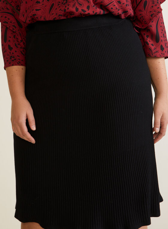 Pleated Flare Skirt, Black