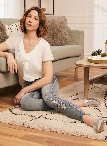 Short Sleeve Ruffled Blouse, Off White,  blouse, short sleeves, ruffled, crepe, v-neck, spring summer 2020
