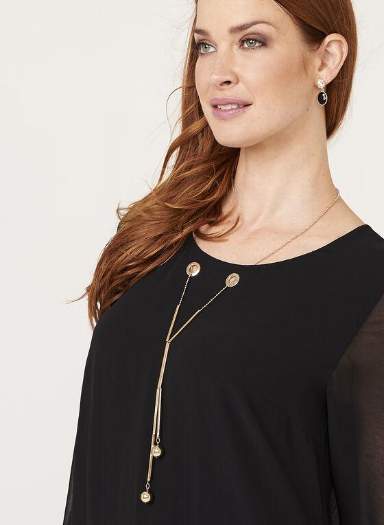 Tunique manches longues avec collier sautoir, Noir, hi-res