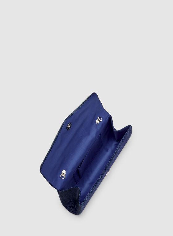 Crystal Trim Clutch, Blue, hi-res