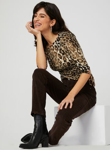 ¾ Sleeve Animal Print Top , Black, hi-res