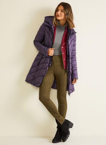 Bernardo - Manteau matelassé mi-long, Violet,  automne hiver 2020, manteau, matetelassé, duvet, Bernardo, manches longues, cintré, poches, plastron, chevrons, EcoPlume