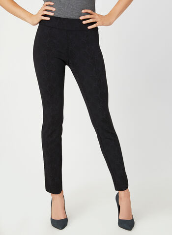 Modern Fit Slim Leg Pants, Black, hi-res,  modern fit, slim leg, lace print, pull-on, fall 2019, winter 2019