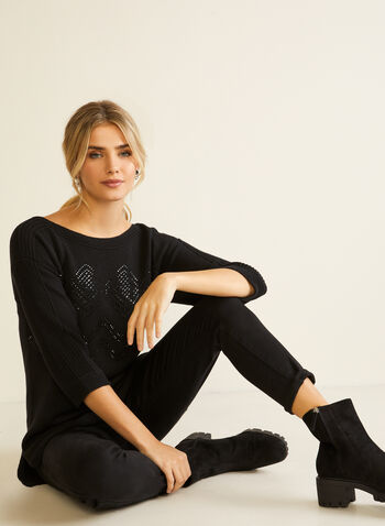 Pull à manches  ¾ et détails miroitants , Noir,  automne hiver, pull, chandail, haut, tricot, manches ¾, manches 3/4