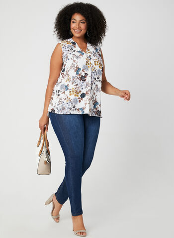 V-neck Crepe Blouse, White, hi-res,  fall 2019, winter 2019, crepe,V-neck, floral print, sleeveless