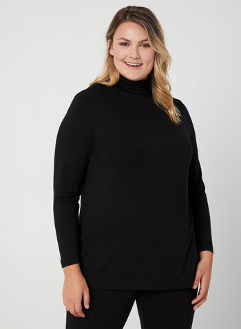 Long Sleeve Mock Neck Top, Black,  turtleneck, long sleeves, stretchy, fall 2019, winter 2019