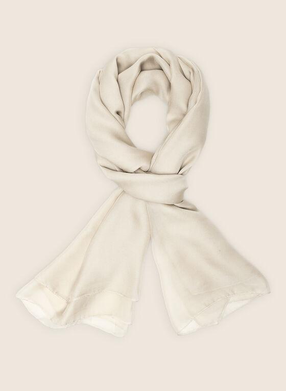 Foulard oblong en mousseline, Blanc cassé