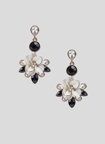 Boucles d'oreilles à pendant floral, Noir, hi-res