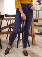 Jeans à jambe étroite et taille haute , Bleu