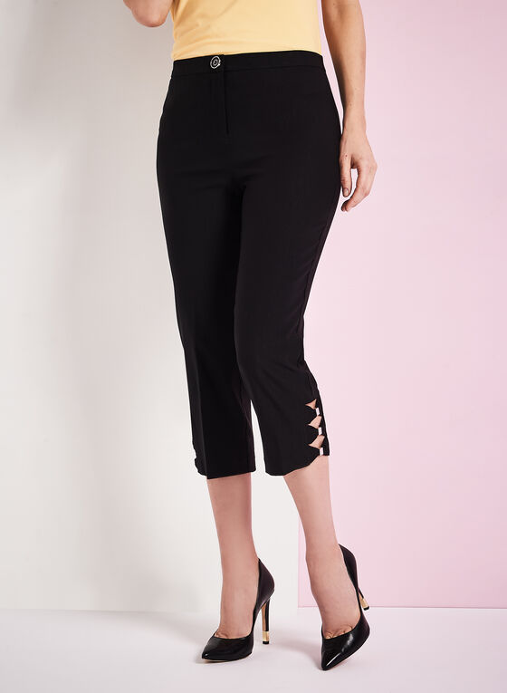 Signature Fit Straight Leg Capris, Black, hi-res