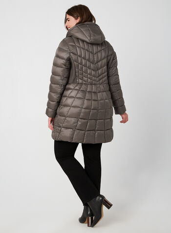 B by Bernardo - Weatherproof Coat EcoPlume™, Brown, hi-res,  fall 2019, winter 2019, coat, quilted, vest, eco friendly, hood, long sleeves