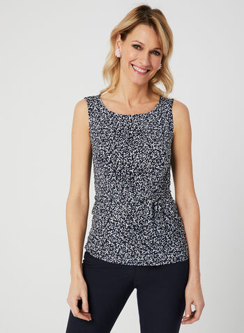 Floral Vine Print Top, Blue, hi-res