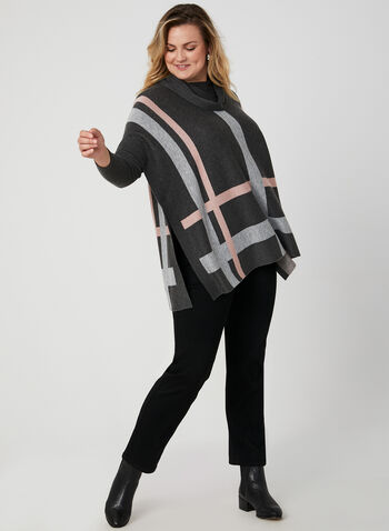 Cowl Neck Poncho Sweater, Black, hi-res,  poncho, ribbed, long sleeves, cowl neck, plaid print, fall 2019, winter 2019