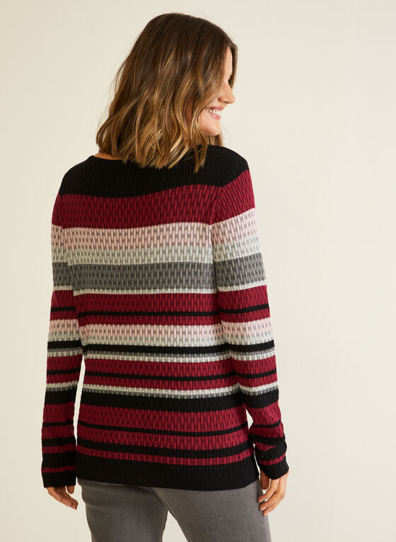 Stripe Print Textured Knit Sweater, Red