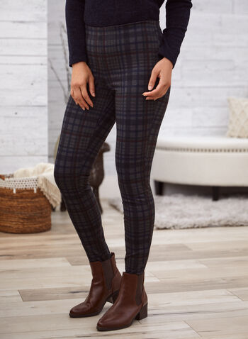 Pantalon à enfiler à motif tartan , Bleu,  pantalon, jambe étroite, tartan, point de Rome, automne hiver 2020 20
