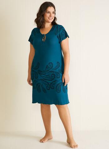 Paisley Print Nightgown, Brown,  fall winter 2020, sleepwear, pyjamas, pajamas, nightgown, nightshirt, holiday, holiday 2020, gift, paisley print