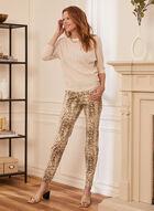 Snake Print Slim Leg Jeans, Off White