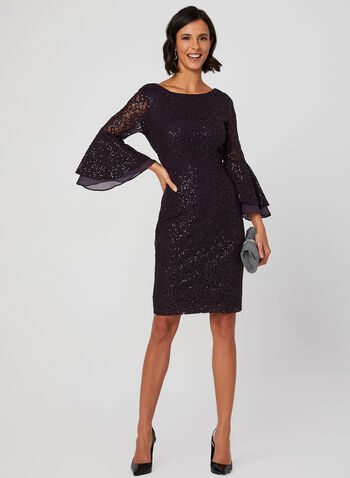 Sequin Lace Bell Sleeve Dress, Purple, hi-res