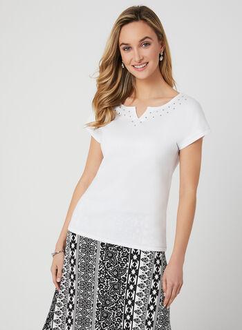 T-shirt en coton à détails cristaux, Blanc, hi-res