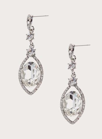 Crystal Drop Earrings , Silver, hi-res