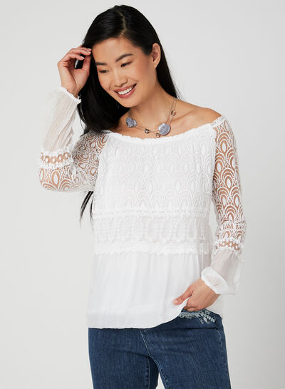 Charlie B - Lace Balloon Sleeve Top