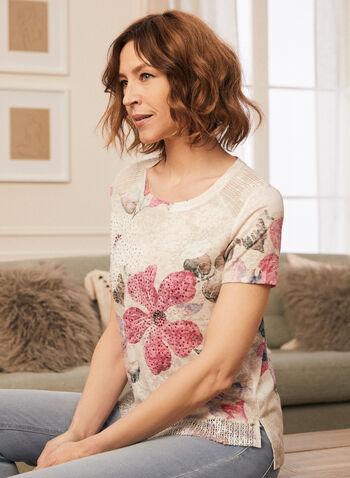 T-shirt fleuri à détails crochet et strass, Rouge,  t-shirt, fleurs, manches courtes, strass, crochet, printemps été 2020