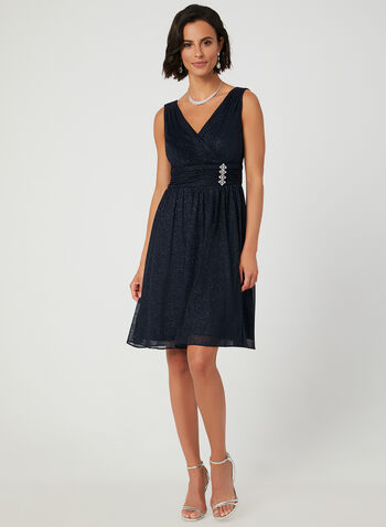 Sparkle Mesh Dress, Blue, hi-res