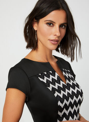 Chevron Print Dress, Black, hi-res,  fall winter 2019, scuba, chevron print, sheath, cocktail dress